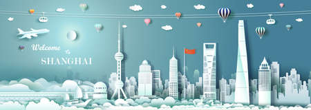 Tour Landmark downtown Shanghai with China flag, Travel cityscape skyline and architecture Asian at Shanghai and modern building, Travel by balloon, sailboat, plane and cable, Vector illustration.