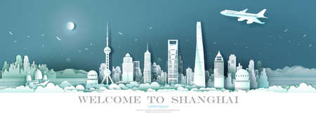 Travel Landmark China downtown Shanghai with seascape background, Tour cityscape skyline and architecture Asian at Shanghai and modern building, Travel by  airplane and sailboat, Vector illustration. Ilustrace