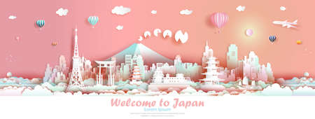 Vector illustration tour Japan architecture famous landmarks of asian for advertising, Travel Mount Fuji and downtown asia culture with modern building, Travel panoramic by balloon, sailboat, plane.