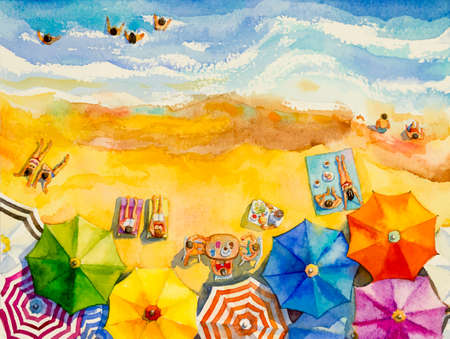 Painting watercolor seascape top view colorful of lovers, family vacation and tourism in summery, multicolored umbrella, sea wave blue background. Painted Impressionist, abstract image illustration.