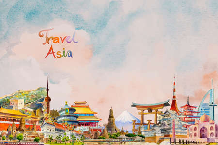 Travel landmark Asian ancient and modern architecture. Famous landmarks asia of the world. Watercolor hand drawn painting illustration, on sky blue background, popular tourist attraction.