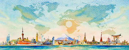Famous landmarks world grouped together. Travel around the world to asia, europe, america. Watercolor landscape painting illustration on world map and sun, sky background, popular tourist attraction.