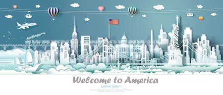 Travel panorama view landmarks United States of America famous monument architecture skyline, Tour landmark to golden gate bridge and statue of liberty, Traveling architecture sculpture world, Vector. Ilustrace