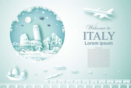 Travel Italy ancient and castle architecture monument with happy new year, Advertising template for travel company Italy and famous landmarks with paper cut, paper art style vector illustration.