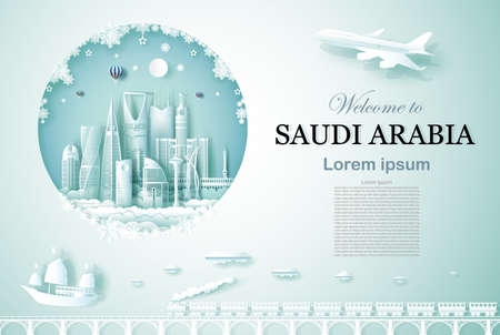 Travel Saudi arabia modern architecture monument with happy new year, Advertising template for travel company Saudi arabia and famous landmarks with paper cut, paper art style vector illustration.