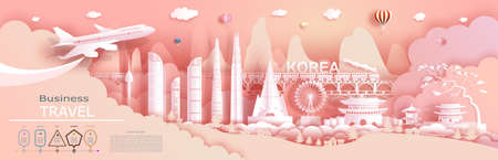 Advertising travel company go to Korea top world famous. Tour presentation, design, template, banner, ticket, business, brochure for advertising. Vector illustration landmark of asia with paper cut.