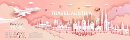 Travel company to Austria top world famous palace and castle architecture. Tour zurich, geneva, lucerne, interlaken, landmark of europe with paper cut. Business brochure design for advertising.