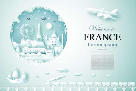 Travel France ancient and castle architecture monument with happy new year, Advertising template for travel company Russia and famous landmarks with paper cut, paper art style vector illustration.