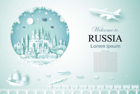 Travel Russia ancient and castle architecture monument with happy new year, Advertising template for travel company Russia and famous landmarks with paper cut, paper art style vector illustration.