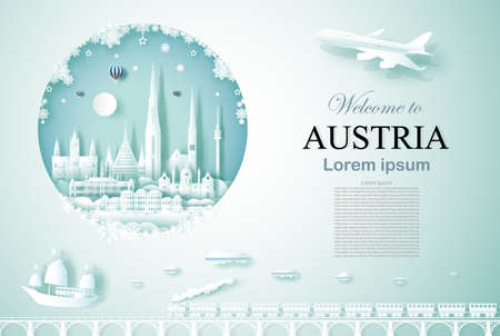 Travel Austria ancient and castle architecture monument with happy new year, Advertising template for travel company Austria and famous landmarks with paper cut, paper art style vector illustration.