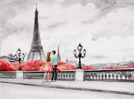 Paris European city landscape. France, Eiffel tower and couple young, man and woman on the street view, black and white background. Watercolor painting illustration,holiday travel, Valentine,greeting.