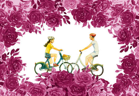 Abstract watercolor painting red,pink flower color of roses with young man, woman,ride bicycle, classic vintage style, Valentine day, greeting cards, wedding in white background. Frame made note 写真素材