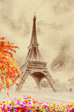 Paris european city landscape. France, eiffel tower and daisy flower beauty season in garden, classic art, Watercolor painting illustration,vintage style.