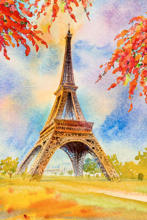 Paris european city landscape. France, eiffel tower and  beauty flowers spring season in garden, Modern art, Watercolor painting illustration popular tourism location.