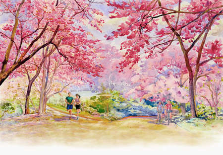 Pink red color of Wild himalayan cherry, roadside in the morning with Men and women travel bicycles, sky cloud background, Hand painted, beauty nature season in Thailand. Painting watercolor landscape