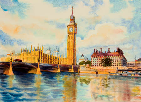 Big Ben Clock Tower and thames river in London at England. Watercolor painting illustration landscape beautiful season. Landmark, business city, popular tourism location.