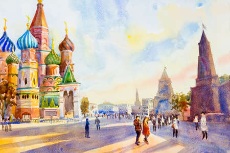 Kremlin and Cathedral of St. Basil in the Red Square in Moscow, Russia. the main tourist attraction. Painting landscape watercolor illustration, beautiful season summer and family tour.