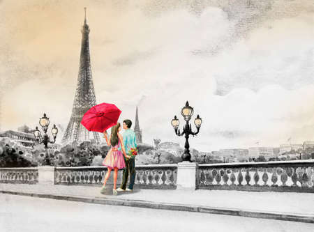 Paris European city landscape. France, Eiffel tower and couple young, man and woman red umbrella on the street view, black and white background. Watercolor painting illustration,tour travel holiday.