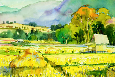 Watercolor landscape original painting on paper colorful of village and rice field in the morning, with sky view background, Hand painted illustration beauty nature winter season in Thailand. 写真素材