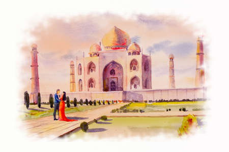 Watercolor painting landscape of archaeological site in the Taj Mahal view and lovers couple in flower garden,sky background. Hand painted, beauty spring. World landmarks decorative illustration 写真素材
