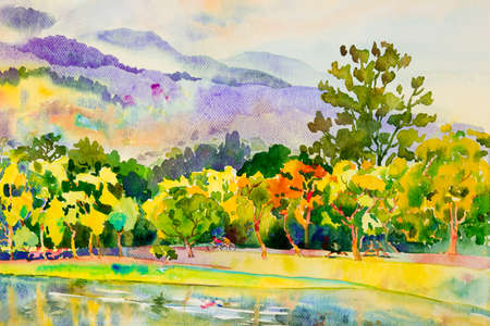 Watercolor landscape original painting colorful of family fitness by ride bicycle,jogging in public park with nature autumn season and emotion sky cloud background. Painted Impressionist illustration 写真素材