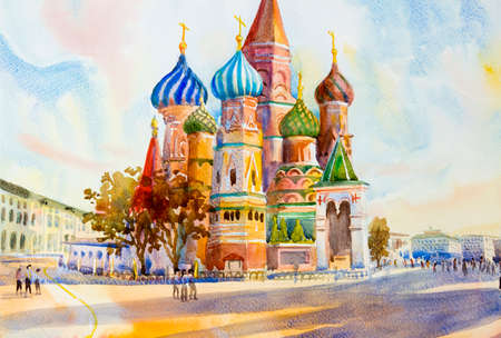 Kremlin and Cathedral of St. Basil in the Red Square Russia. the main tourist attraction in Moscow.  Painting landscape watercolor illustration, beautiful season summer and family tour.