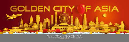 Travel China landmarks of Beijing, Shanghai, Taiwan, Xian, Macao, Taiwan, with gold city, Travelling China with panorama cityscape popular and famous capital, Origami paper cut style for advertising.  イラスト・ベクター素材