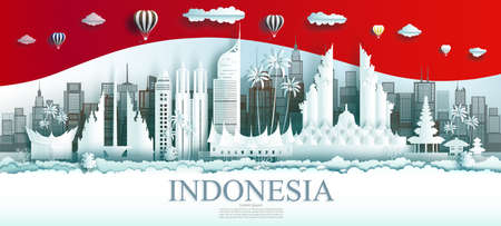 Travel Indonesia top world famous city ancient and palace architecture. Tour jakarta landmark of Asia with Indonesia flag background. Modern business brochure design for advertising, tour, travel.
