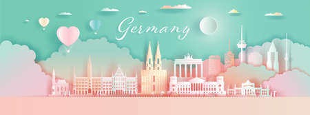 Germany Architecture Travel Landmarks Berlin with Balloons and colorful for wallpaper background, Tour city with panorama view and capital, Colorful origami paper cut style poster and postcard.