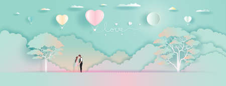 Young couples with Balloons love and romantic view. Family, love, relationship concept, Vector illustration in nature background. For valentines day, wallpaper, card, posters, postcard, greeting card.