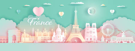 Paper Art, paper cut, Origami, Postcard And Poster, France Colorful Architecture, Travel Landmarks with Love Balloons for Advertising, Wallpaper, Tour Paris with Panorama View Capital Colorful.  イラスト・ベクター素材