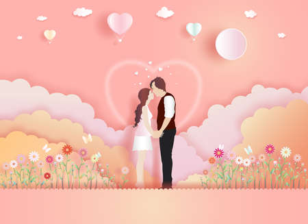 Young couples in romantic love with butterfly and flowers on pink background. Family, Love, Relationship, memory concept, Vector illustration paper cut for greeting card, wallpaper, posters, postcard.