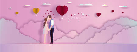 Young couples in romantic love with balloons on purple pink background. Family, Love, Relationship concept, Vector illustration paper cut for greeting card, wallpaper, posters, postcard.