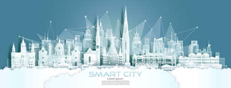 Technology wireless network communication smart city with architecture in Austria at europe downtown skyline for design banner technology, Vector illustration futuristic green city and panorama view.