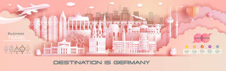 Advertising travel company go to Germany top world famous. Tour presentation, design, template, banner, ticket, business, brochure for advertising. Vector illustration landmark of asia with paper cut.