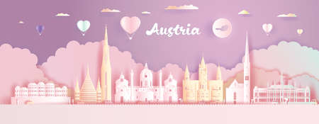 Paper cut, Paper Art, Origami, Postcard And Poster, Austria Colorful Architecture, Travel Landmarks with Love Balloons for Advertising, Wallpaper, Tour vienna with Panorama View Capital Colorful.