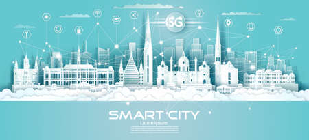 Technology wireless network communication smart city 5G with icon in Austria downtown skyscraper on blue background, Vector illustration futuristic green city and panorama view.