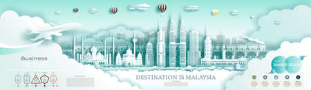 Travel landmark Malaysia top world famous city ancient and modern architecture. Modern business brochure design for advertising with infographics.Tour Malaysia landmarks of Asia with popular skyline.