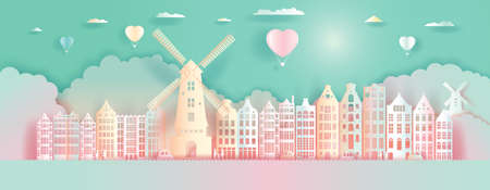 Paper Art, paper cut, Origami, Postcard And Poster, Netherlands Colorful Architecture, Travel Landmarks with Love Balloons for Advertising, Tour Netherlands with Panorama View Capital Colorful.