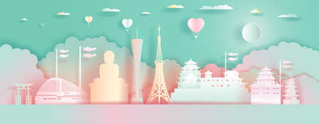 Travel Landmarks Japan Architecture with Love Balloons in colorful background. Paper Art, paper cut, Origami, Postcard And Poster design.Travel Tokyo in Japan Architecture in cute style. Vector