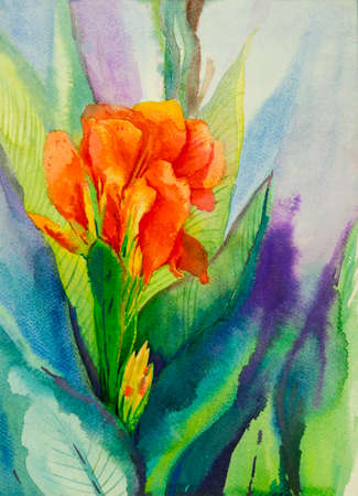Watercolor landscape original painting on paper colorful of canna lily flowers and emotion in sky soft  background or congratulate postcard. Painted Impressionist, abstract image