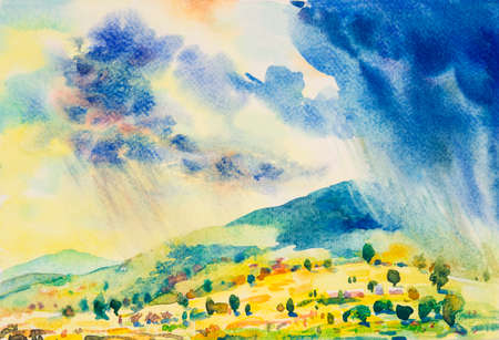 Watercolor painting original landscape colorful of rain cloud meadow cornfield in mountain and season nature  blue sky background. Hand Painted Impressionist semi abstract illustration in Asia.