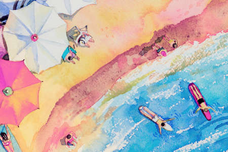 Painting watercolor seascape Top view colorful of lovers, family vacation and tourism in summery, multi colored umbrella, sea wave blue background. Hand painted with advertising poster illustration.