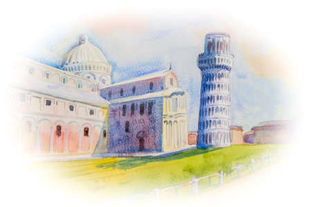 Hand drawn watercolor painting colorful Leaning tower of Pisa, Italy, Illustration art background on paper with postcard, poster, advertising. Travel popular landmark of the world.