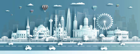 Travel landmarks Finland city with modern and ancient architecture, Tour landmark the world to history with panorama view cityscape popular capital, Origami paper cut style,Vector illustration.