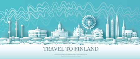 Finland architectural sights in Helsinki with Northern Lights background.Tour the city with panoramic views and the beautiful capital city, origami paper cut patterns for travel posters and postcards.