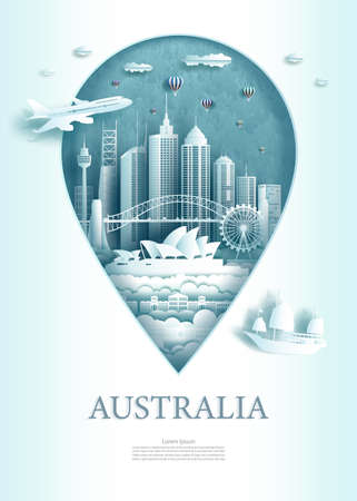 Vector illustration pin point symbol. Travel Australia architecture monument pin in europe with ancient city building business travel poster and postcard. Tour landmarks of sydney modern architecture. 矢量图像