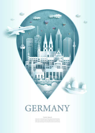 Vector illustration pin point symbol. Travel Germany architecture monument pin in europe with ancient city building business travel poster and postcard. Tour landmarks of Berlin ancient architecture. 矢量图像