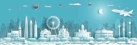 Finland architecture travel landmarks of Helsinki with Balloons and airplane in Finland country, Tour city with panorama view and capital, Origami paper cut style for travel poster and postcard.