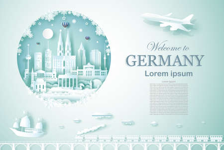 Travel landmarks Germany ancient and castle architecture monument with airplane, train and boat, Advertising template for travel company famous with paper cut, paper art style vector illustration.